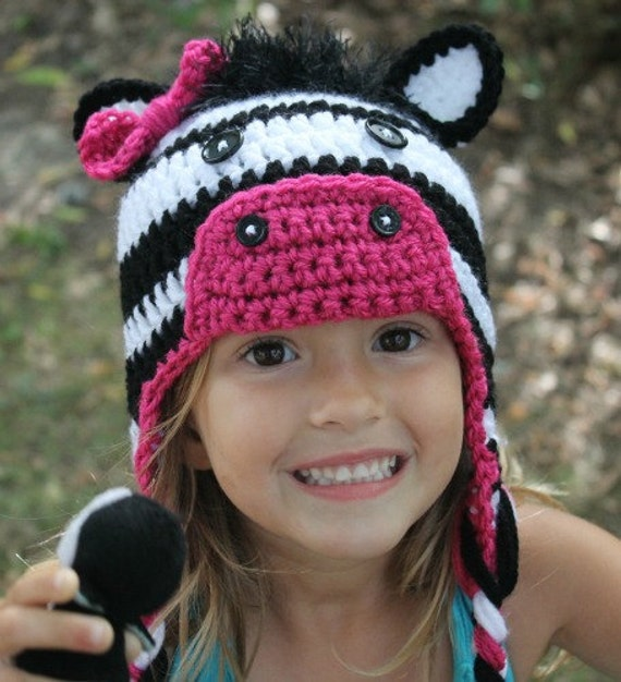 Crochet Zebra Hat : Crochet zebra hat made to order you can pick by Littleonescrochet