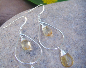 Citrine Earrings - Citrine Teardrop Earrings - Sterling silver Dangle Earrings - November Birthstone