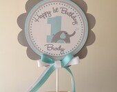 Blue and Grey Elephant Heart Collection: Smash Cake Topper