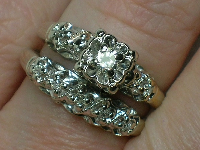 vintage wedding ring set ornate 1940s white gold illusion. Black Bedroom Furniture Sets. Home Design Ideas