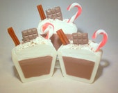 Cup of Hot Cocoa Artisan Soap with Chocolate Bar and Candy Cane.  Perfect Stocking Suffer or Teachers Gift!  by Indigo Works Ambiance