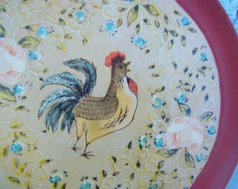 "Vintage Hand Painted Wooden 13"" Serving Tray"