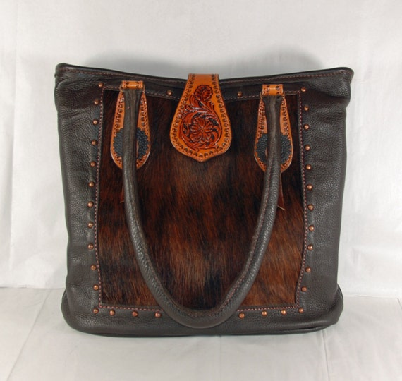 Hand Tooled Leather Purse with Hair on Calf Accent