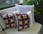 Purple Ikat Pillow - Decorative Accent Pillow - 15 x 15 inch Reversible -  Shades of Purple Ikat Design Pillow - 16 x 16 Insert Included