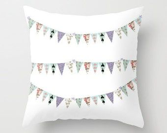 Decorative Throw Pillow Cover,  French script bunting