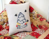 Honey Beehive/ Bee Skep Pillow- Hand Embroidered with Bee Buttons and Flower Buttons (Beekeepers/ Bee Lovers Christmas Gifts)