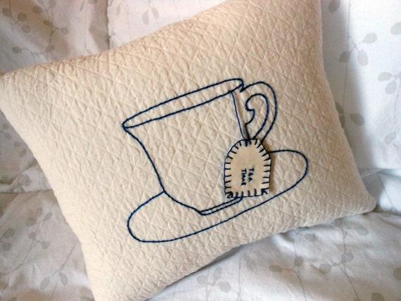 Tea Time -Tea Cup w/ Tea Bag Pillow -Tea Lovers Gifts/ Tea Decor (Blue and White) -Hand Embroidered Tea Cup and Tea Bag