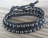 Beaded Hemalyke Double Leather Wrap Bracelet
