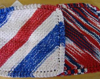 Knitted Dishcloth Dishcloths Americana Patriotic