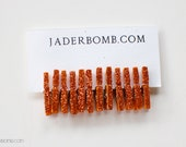 Mini Clothespins- Dyed Clothespins- Orange Glittered Clothespins - Set of 12 - Small