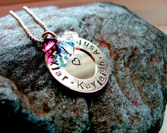 Overlapped Mothers Triple Sterling Silver Personalized Necklace