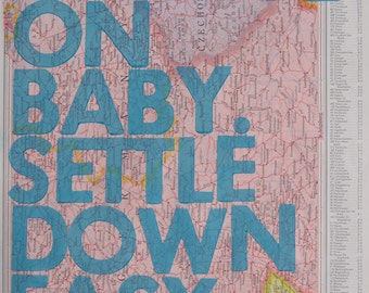 Central Germany  / Ramble On Baby. Settle Down Easy. / Letterpress Print on Antique Atlas Page