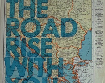 Central Europe / May The Road Rise With You/ Letterpress Print on Antique Atlas Page