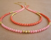 Two strand necklace - Peach coral and salmon pink long gold necklace