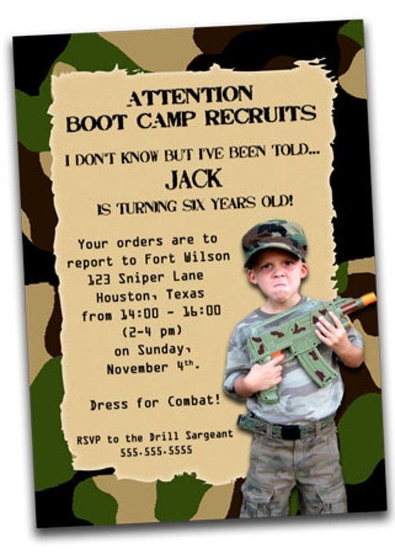 Printable Army Boot Camp Birthday Invitation with Photo by ...