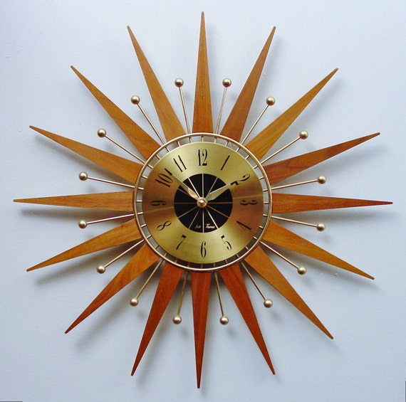 Mid Century Modern Starburst Clock By Seth Thomas Atomic Wall