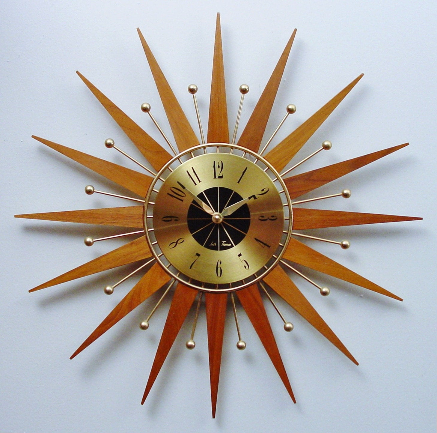 mid century modern starburst clock by seth thomas atomic wall. Black Bedroom Furniture Sets. Home Design Ideas