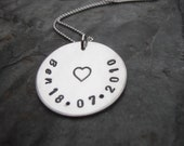 Personalised sterling silver necklace metal stamped name
