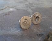 Wish wand stud earrings metal stamped jewellery