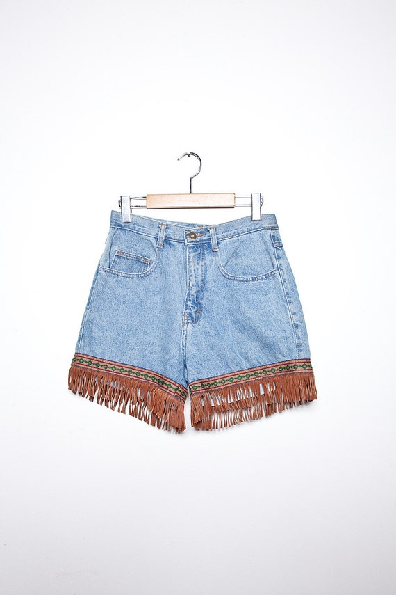 90s Faded Blue High Waist Denim Shorts with Fringe and Ribbon Trim M
