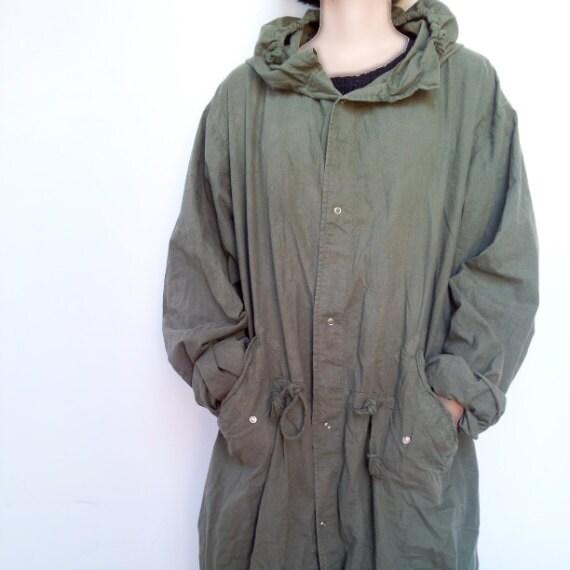 Vintage Fishtail Parka 80s Anorak Army Green Cotton Unisex Large Plus Size Fall Fashion Military Parka Mod Quadrophenia Vespa Punk Hoodie