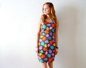 Vintage retro bright floral wiggle dress