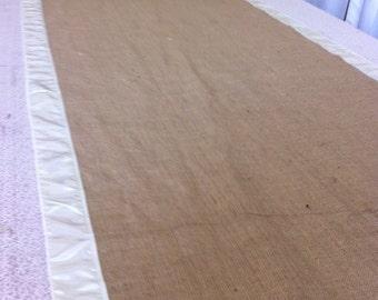 Burlap Custom Made Aisle Runner 50ft with White satin border on both sides