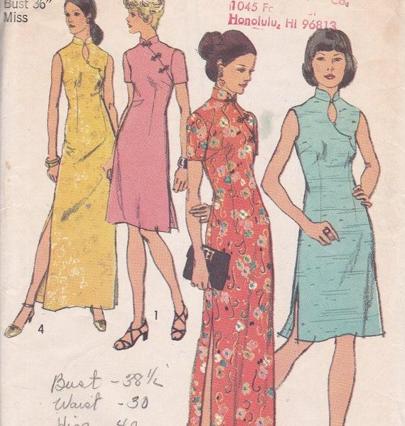Simplicity 5010 Size 14 bust 36 Mandarin Dress Qipao Cheongsam sewing pattern from 1972