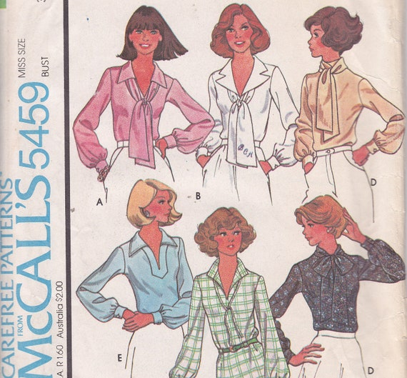 Set of blouses with Alphabet transfer sewing pattern uncut size 8 Bust 31 1/2 from 1977 McCalls 5459
