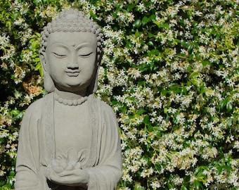 Tall SHAKYAMUNI BUDDHA STATUE - Hand Crafted Original Artwork - Solid Cast Stone (a)
