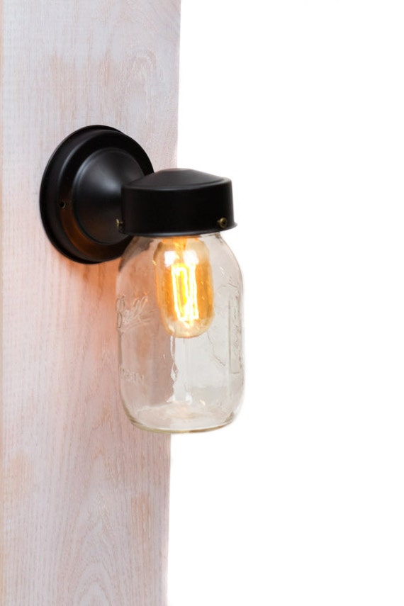 Mason Jar Wall Sconce Etsy : Mason Jar Edison Wall Sconce Light