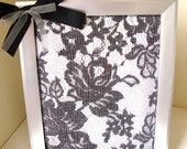 Wedding Gift- Jewelry/Earring Holder Display Frame- 8X10- Jewelry Holder-Lace- Rose-Black Bow- Unique Gift- FREE U.S Shipping