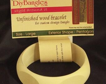 "Diy Bangles, wood bangle bracelet, Size Large 1"", Pentagon Exterior BR-RE-050, 5 flat surface for photos etc"