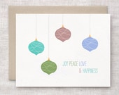 Unique Christmas Card Set of 10 - Joy, Peace, Love, Happiness - Recycled Holiday Cards