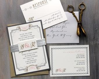 "Art Deco Elegant Script Wedding Invitations, Old Hollywood Wedding Invitation, Gray Wedding Invites - ""Art Deco Love"" Deposit"