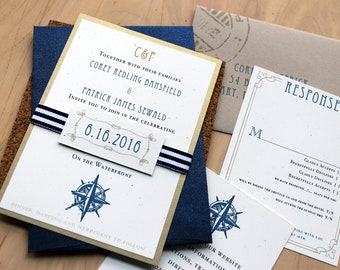 "Destination Wedding Invitations, Wedding Invitations, Nautical Wedding Invitations, Beach Wedding - ""Nautical Bliss"" Sample"
