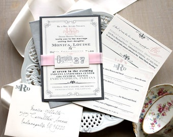 "Pink Wedding Invitations, Modern Wedding Invitations, Mad Lib RSVP Card, Wedding Invites - ""Whimsy Elegance"" Sample"