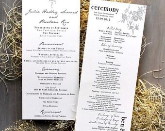 "Classic & Elegant Gray, Rose, Floral Wedding Ceremony Programs, Church Wedding Program - ""All White"" Ceremony Programs Deposit"