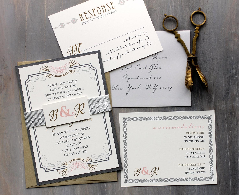 Fancy Wedding Invitations: Art Deco Elegant Script Wedding Invitations Old Hollywood