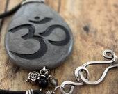 Om necklace-Thunder jasper engraved stone pendant