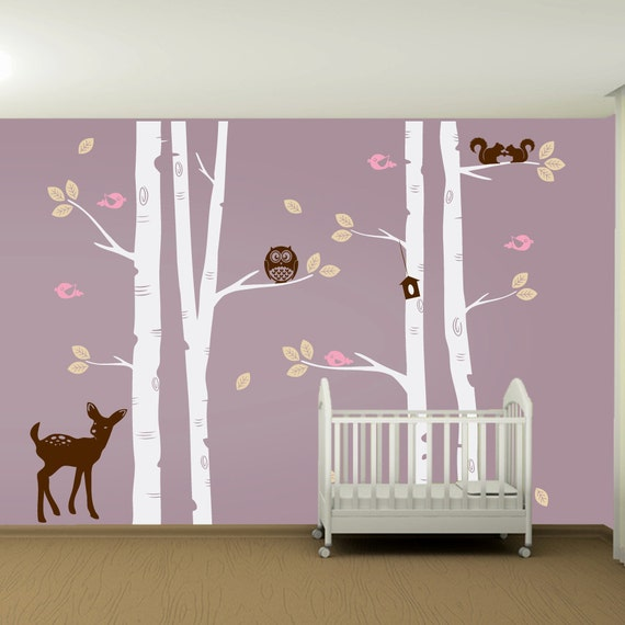 Kids nursery birch tree wall decal set owl deer fawn birds for Bird and owl tree wall mural set