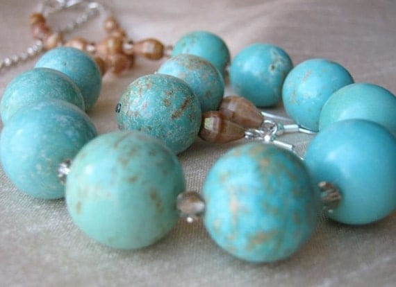 Turquoise Retro Necklace & Earrings Set - Adjustable, tan, sand