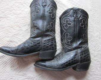 alligator cowboy boots, sz 10 1/2 D  western boots, mens boots cowboy
