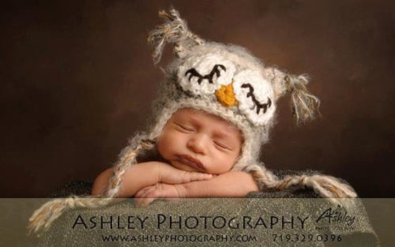 READY TO SHIP Newborn Sleepy Baby Owl Hat Photo Prop Baby Owl Costume-Crocheted in your choice of colors