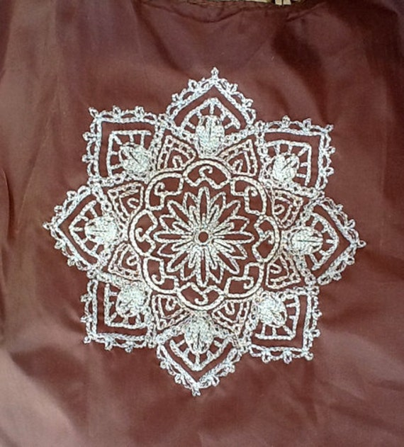 Compact Reusable Tote Bag embroidered w/ Mehndi Medallion