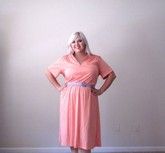 Pastel peach and lilac- Vintage Dress- plus size- rose belt xxl-xxxl