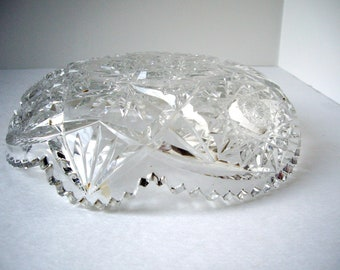 Vintage English cut crystal shallow bowl  1960