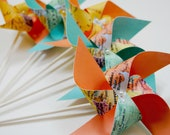 Wedding Favors 8 Mini map Pinwheels