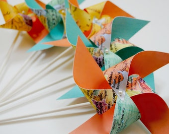 Wedding Favors 8 Mini map Pinwheels