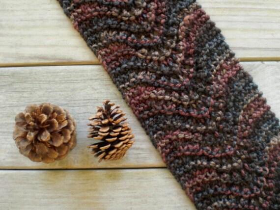 Rustic scarf / earthy autumn brown / mauve / hand knit / slate blue / tan / scarflette / winte wheat flower / cottage chic / cozy